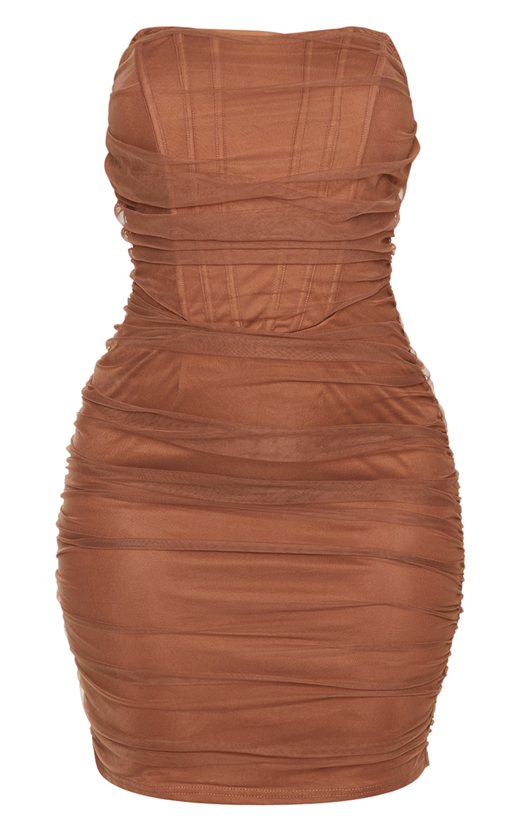 Shape Chocolate Brown Mesh Corset Detail Ruched Bodycon Dress 5