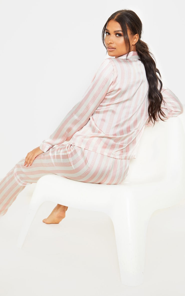 PRETTYLITTLETHING Baby Pink Long Striped Satin PJ Set 2