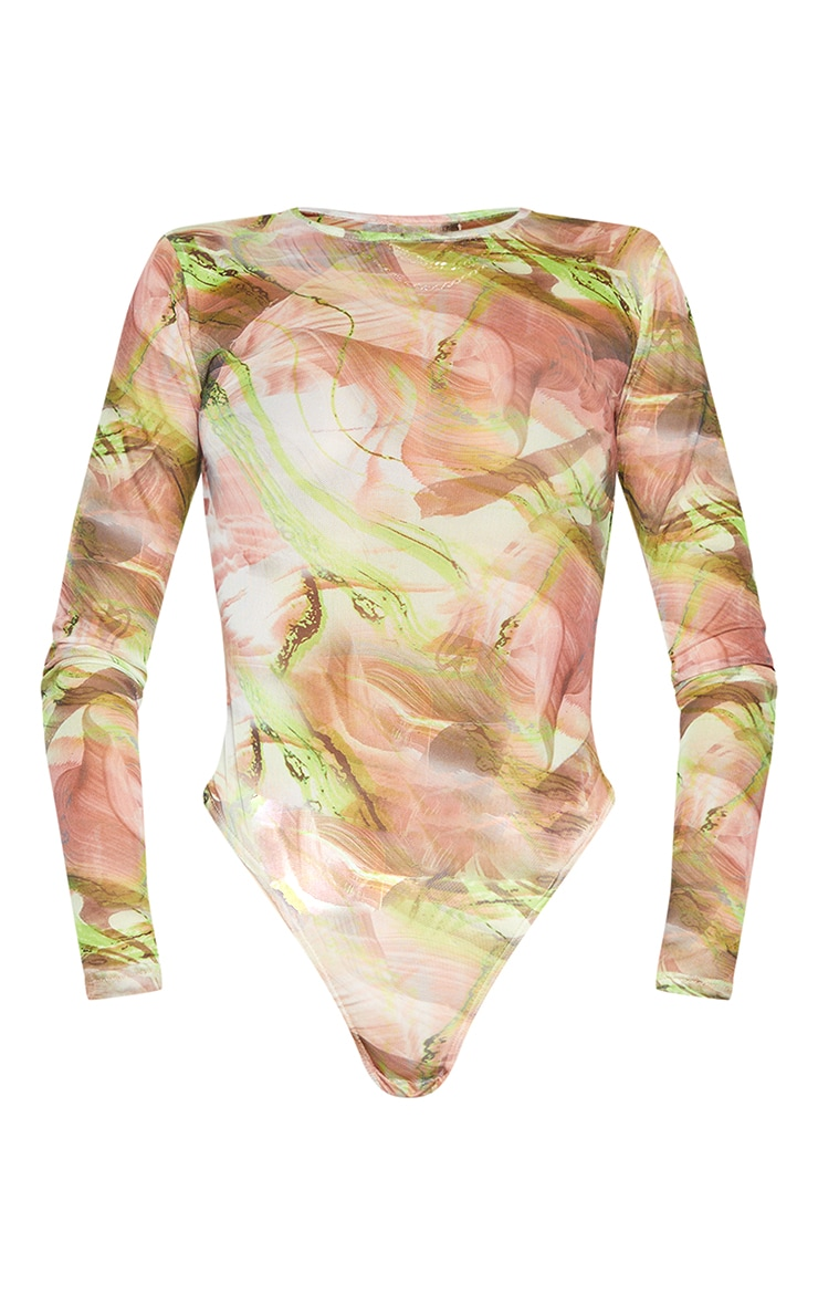 Green Abstract Smoke Printed Mesh High Neck Bodysuit 5