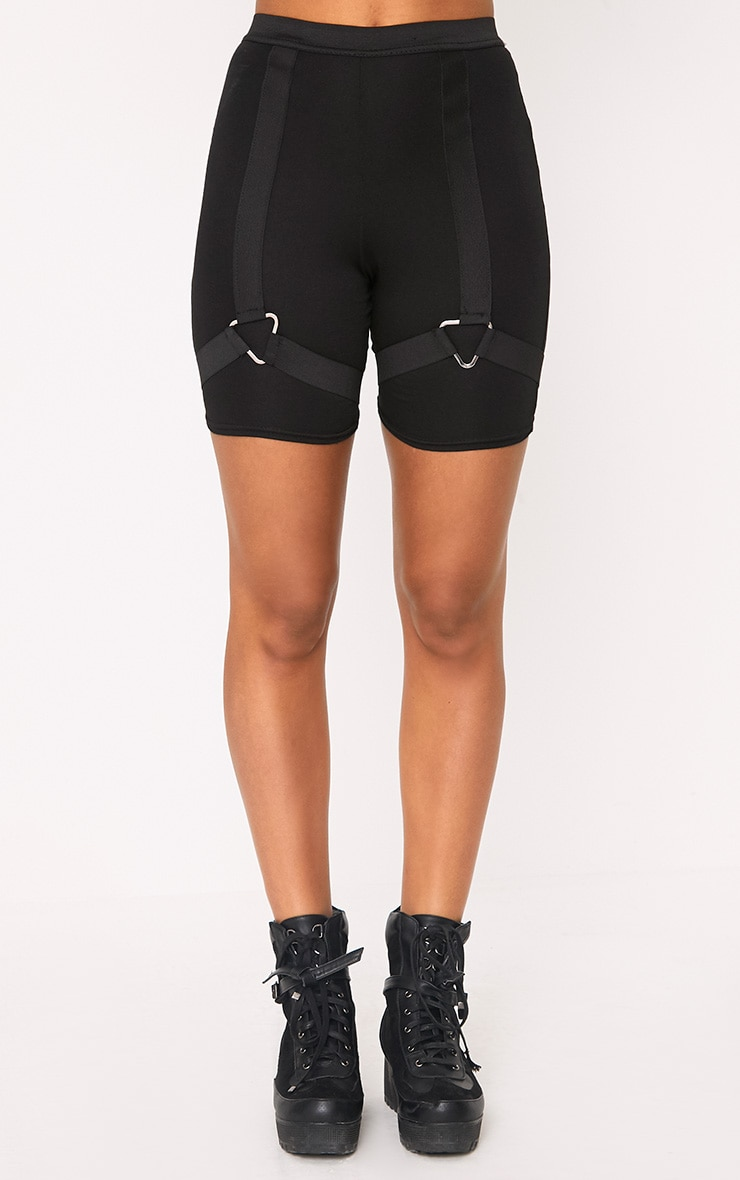 Janine Black Harness Shorts 2