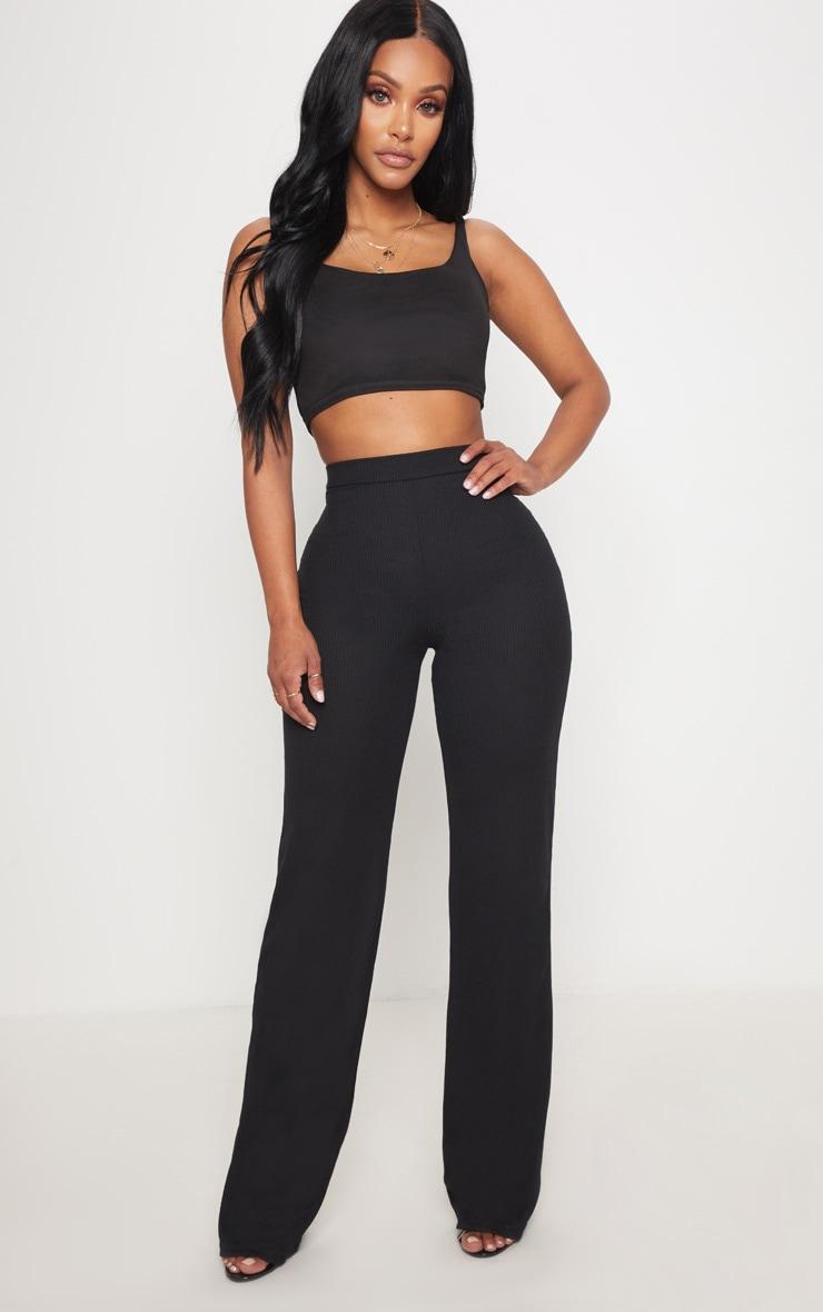 Shape Black Ribbed Wide Leg Pants 1