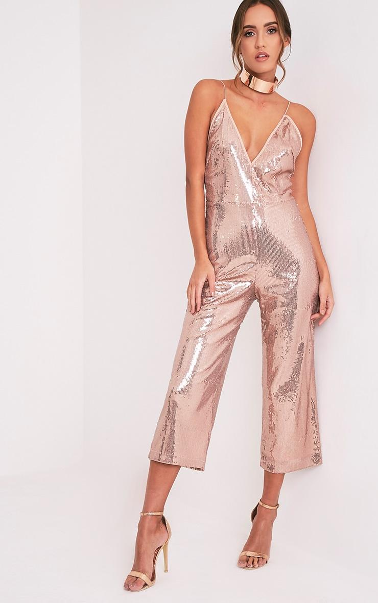 6694b6b9ae Carlyanne Pink Sequin Plunge Cullotte Jumpsuit - Jumpsuits ...