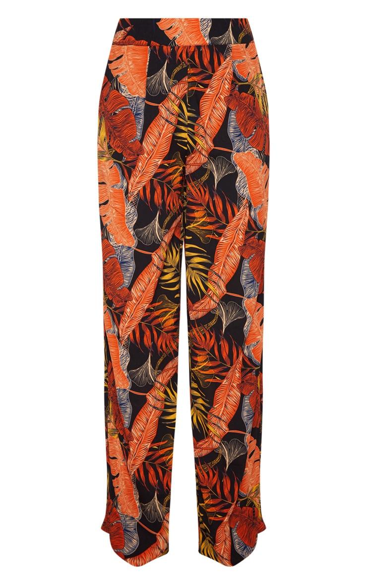 Black Leaf Print Wide Leg Trouse 3