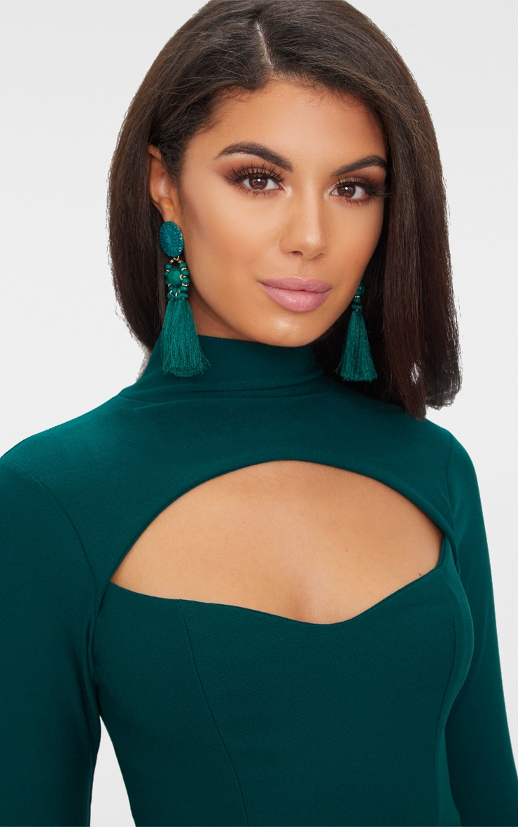 Emerald Green High Neck Cut Out Ruched Detail Bodycon  5