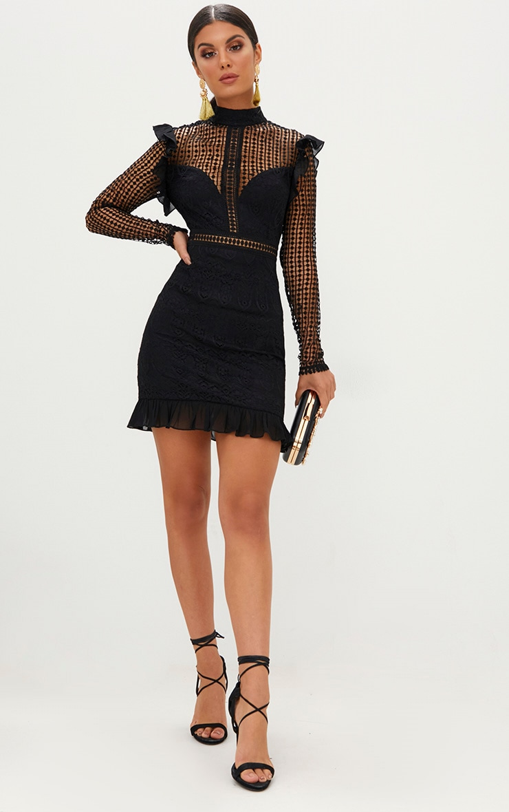 Black Lace Chiffon Frill Detail Bodycon Dress 4