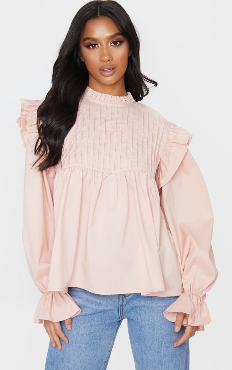 Petite Blush Frill Detail Long Sleeve Blouse 1