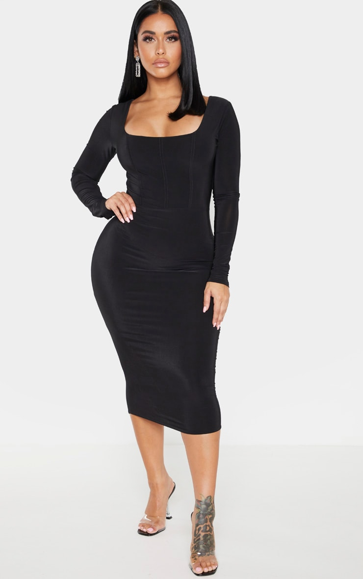 Shape Black Slinky Panelled Long Sleeve Midi Dress 1