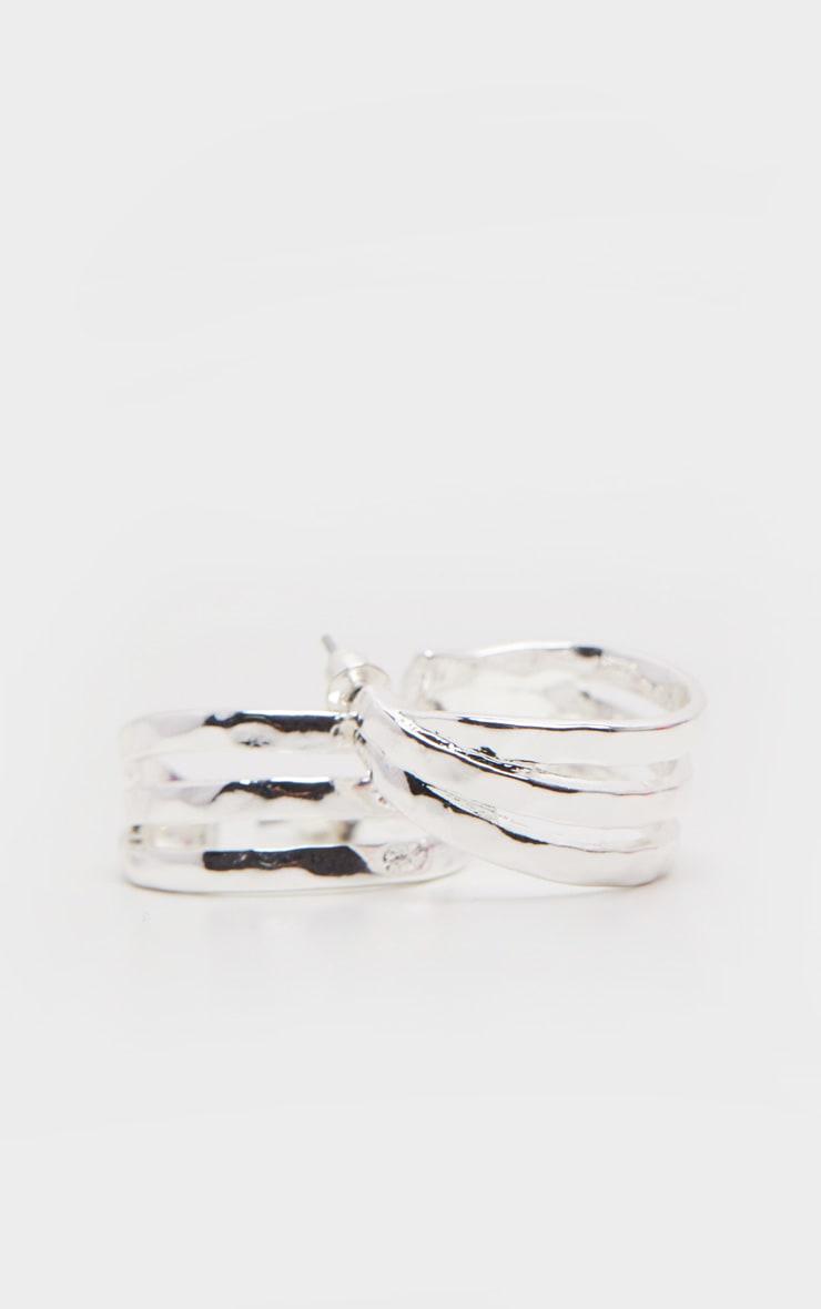 Silver Mini Triple Row Earring Hoops 2