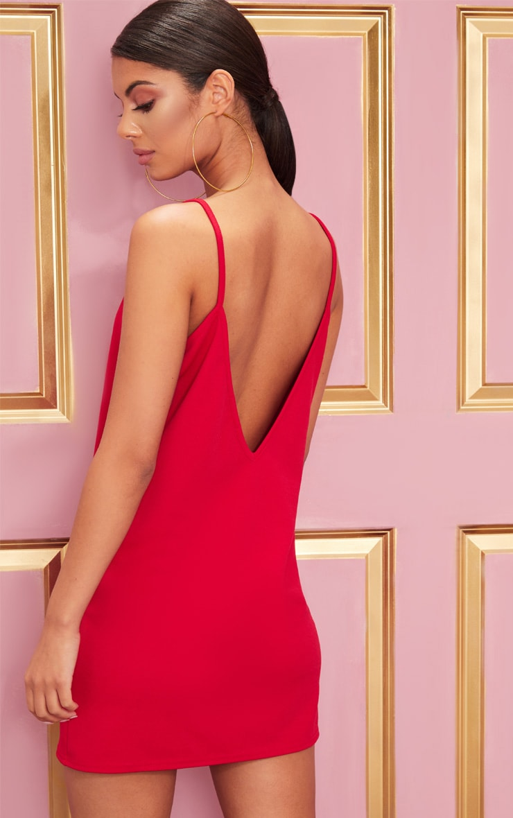 Red Strappy Detail Backless Cami Dress 1