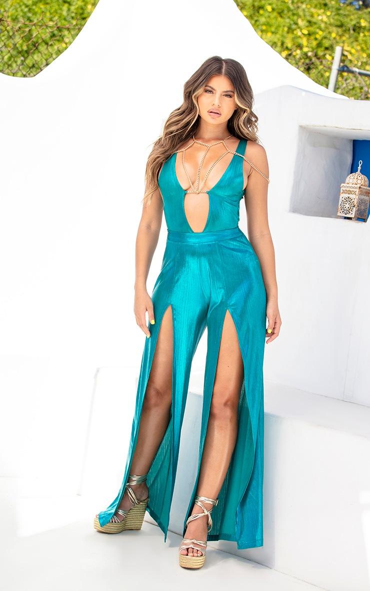 Blue Metallic Harness Chain Swimsuit 6
