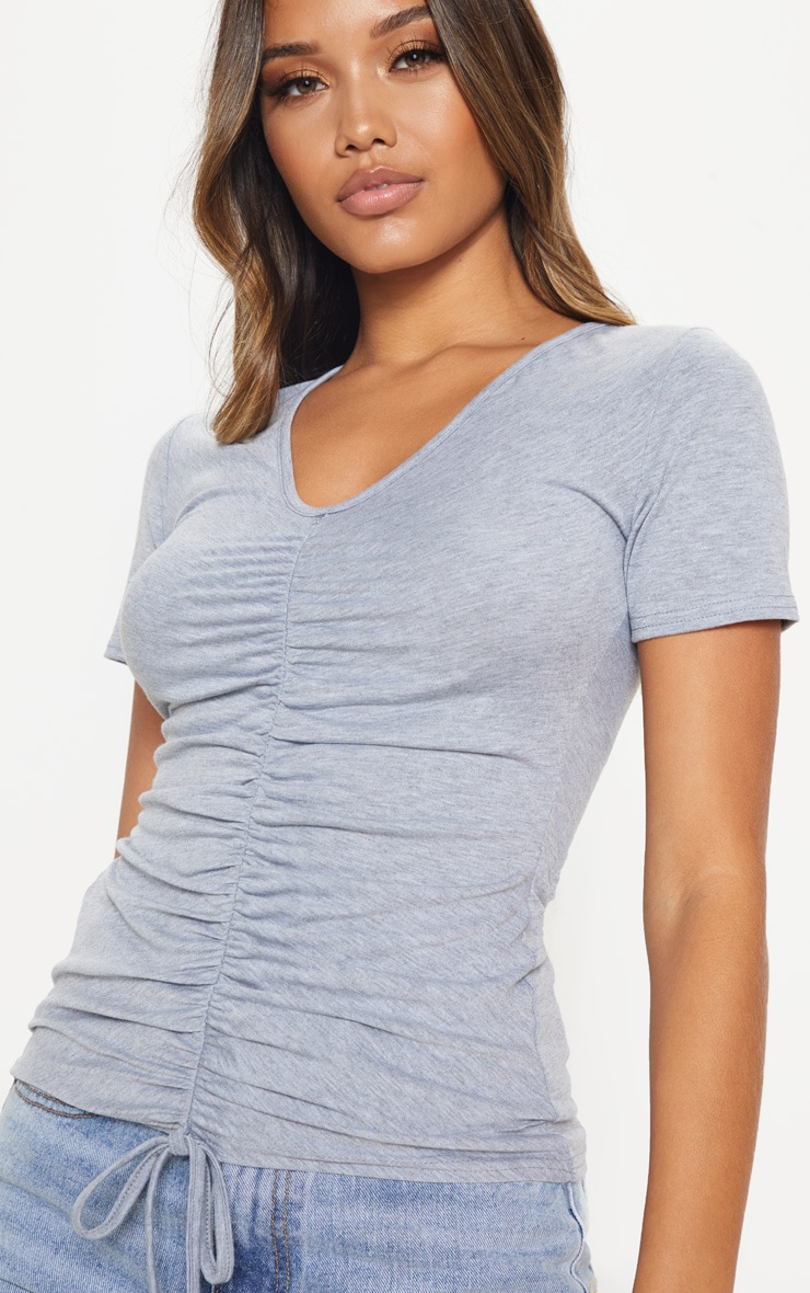 Top manches courtes en jersey gris froncé  5