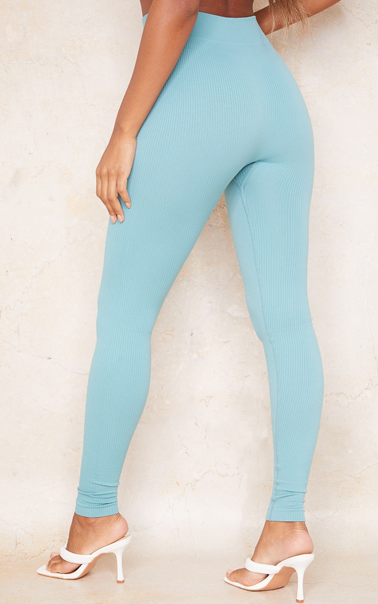Washed Green Structured Contour Rib Button Front Leggings 3