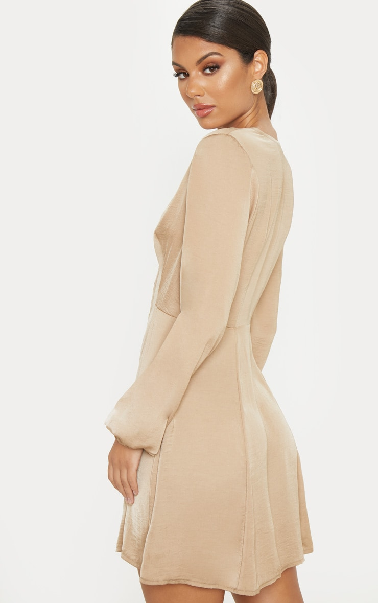 Taupe Satin Hook & Eye Shift Dress 2