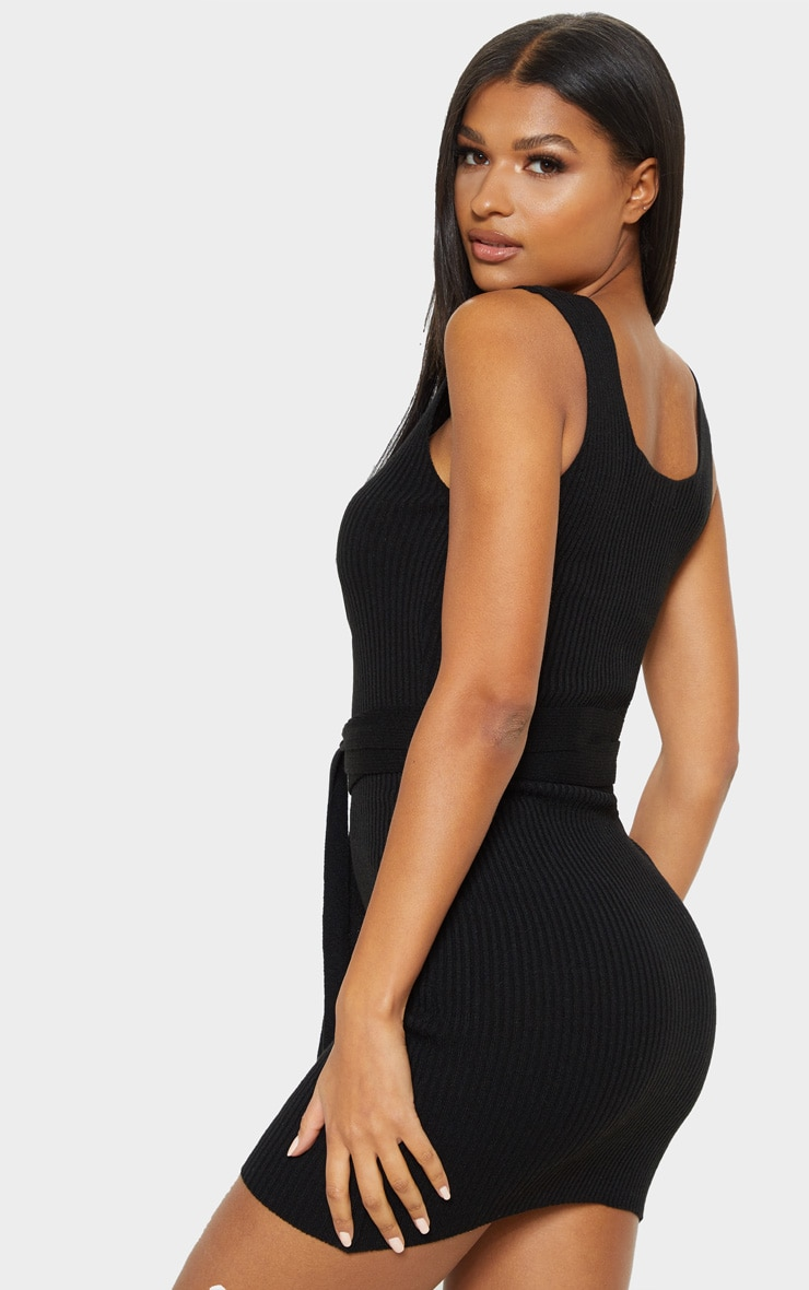 Black Knitted Tie Detail Bodycon Dress 2