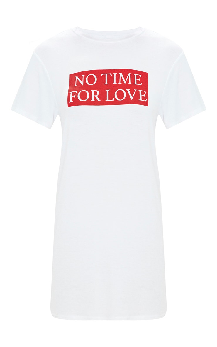 White No Time For Love T Shirt Dress 3