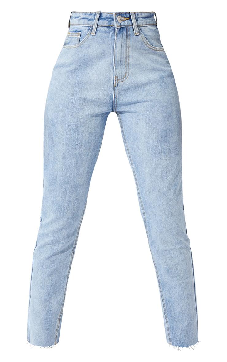 PRETTYLITTLETHING Tall Light Blue Raw Hem Cropped Slim Mom Jeans 5