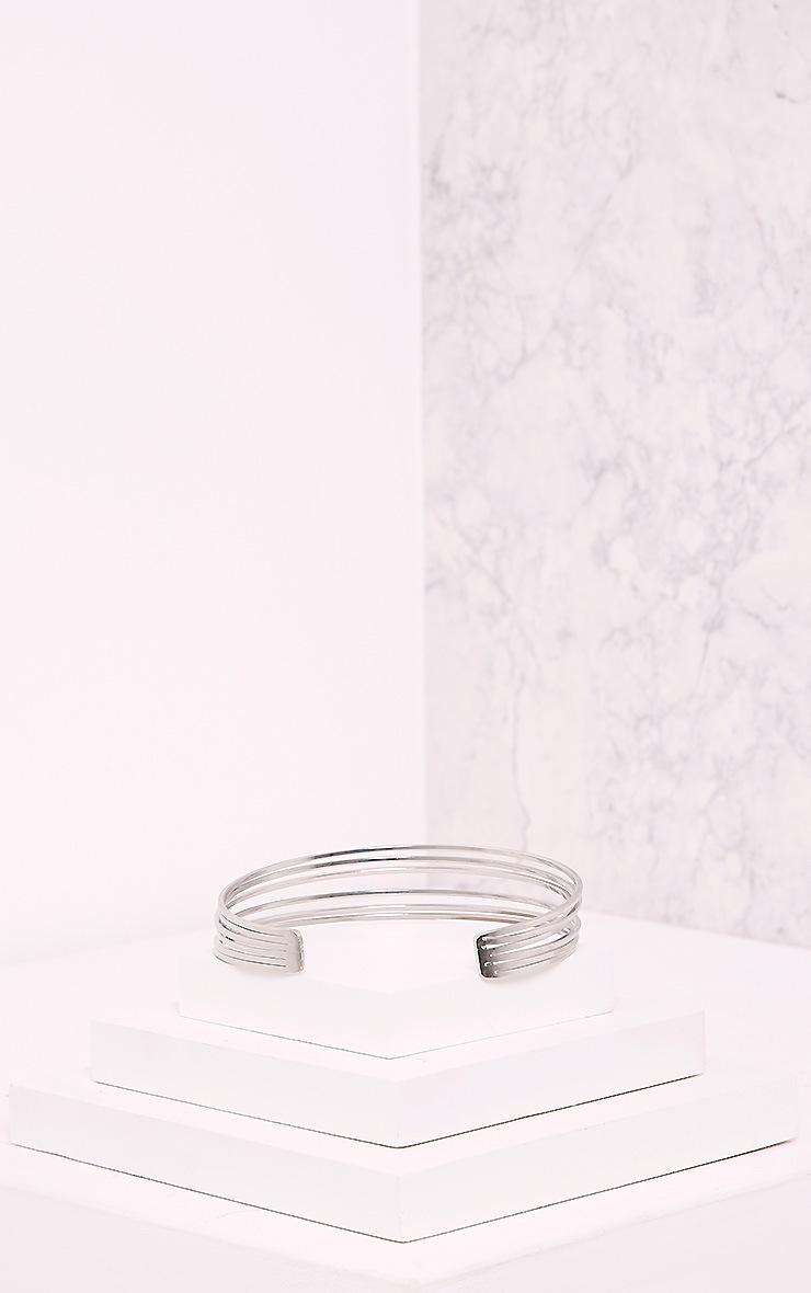 Hynnia Silver Metallic PU Double Layered Choker 5