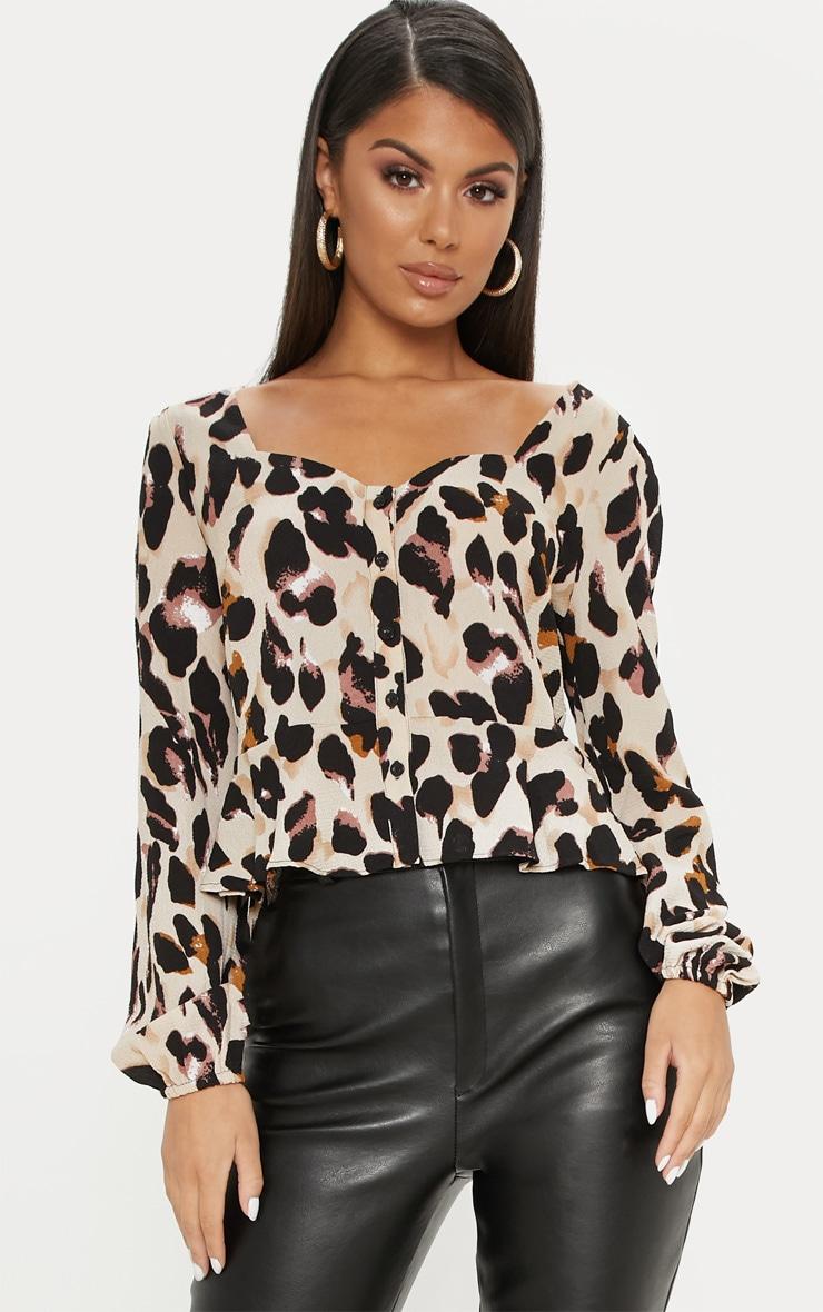 Tan Leopard Peplum Blouse 1