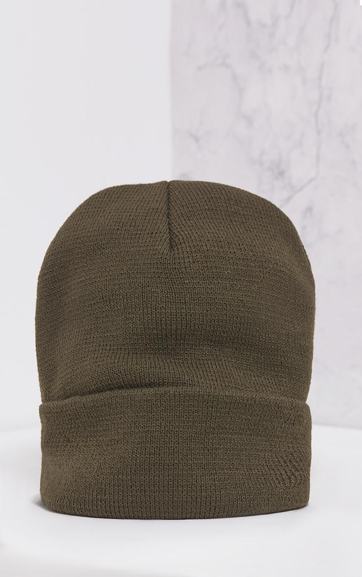 Pollee Khaki Beanie Hat 3