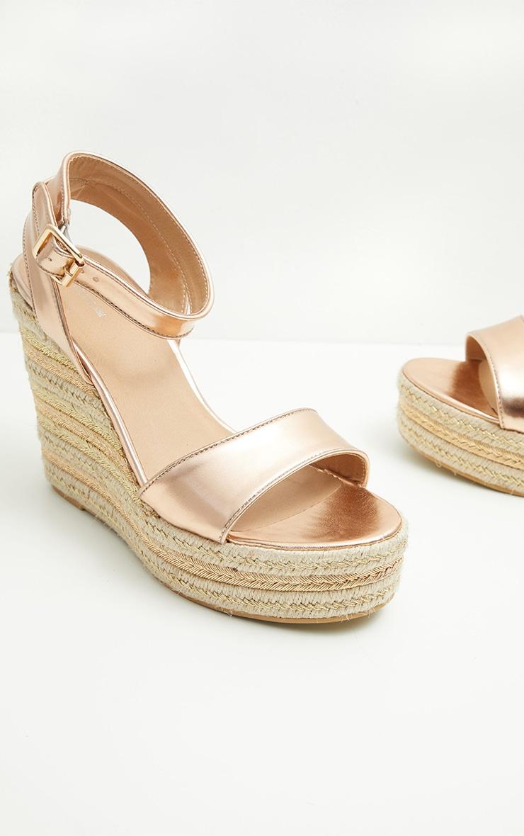 Gold Metallic Espadrille Wedge Sandal 4