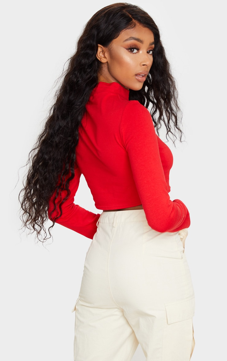 Red High Neck Long Sleeve Crop Top 2