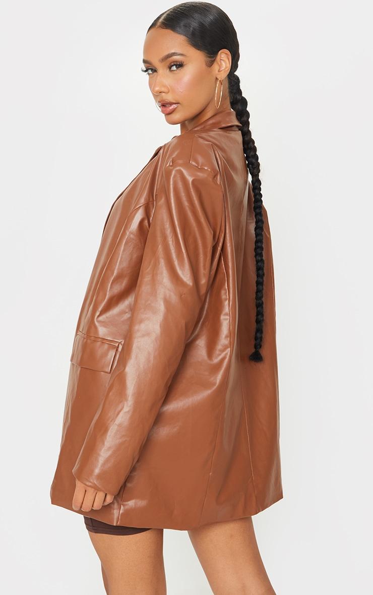 Toffee Faux Leather Oversized Dad Blazer 3