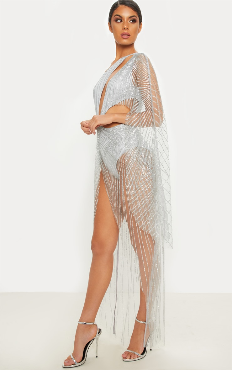 Silver Mesh Glitter One Shoulder Cut Out Maxi Dress 3