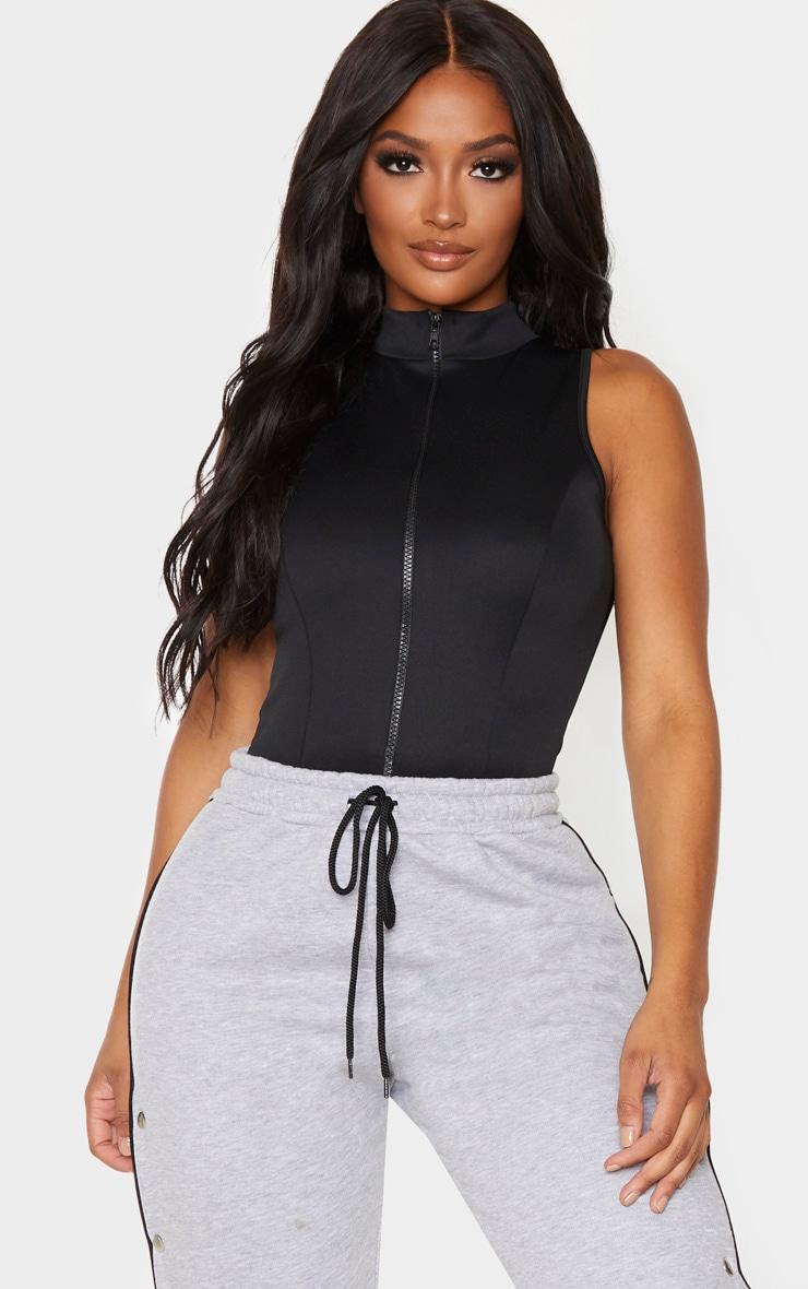 Shape Black Scuba Zip Front Bodysuit 1