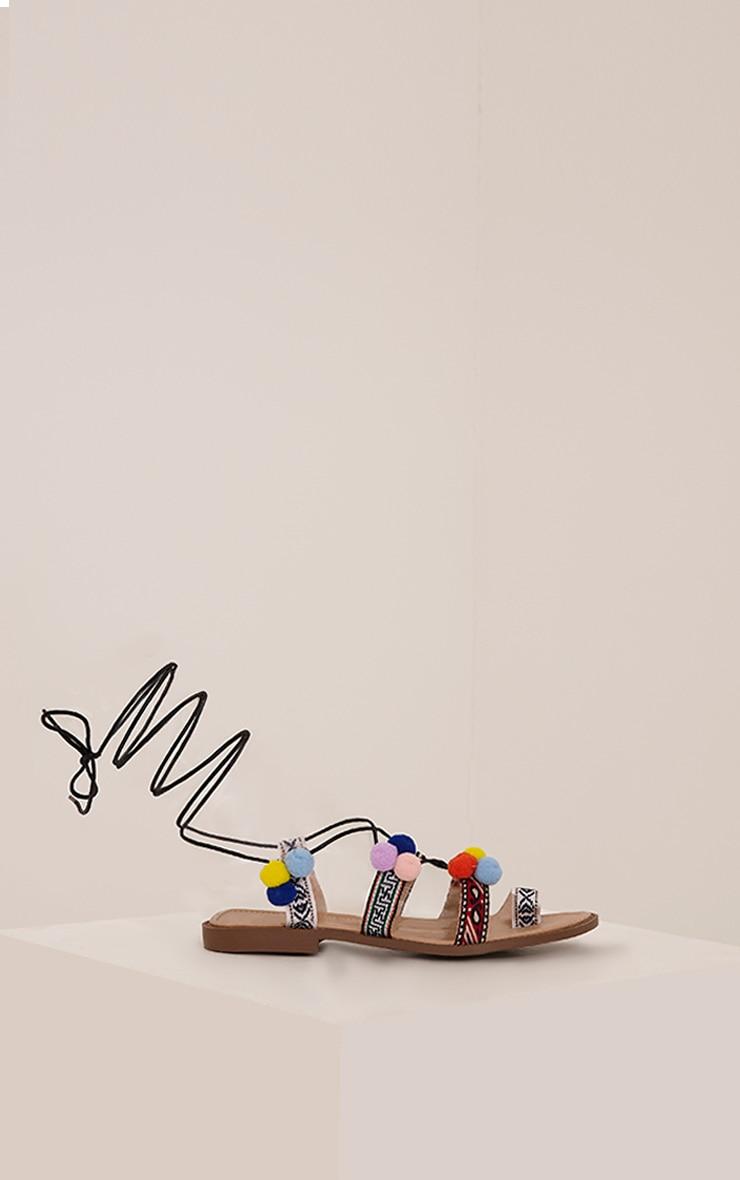 Aida Black Pom Pom Detail Sandals 4