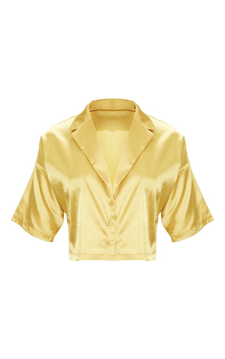 Chartreuse Satin Short Sleeve Crop Shirt  3