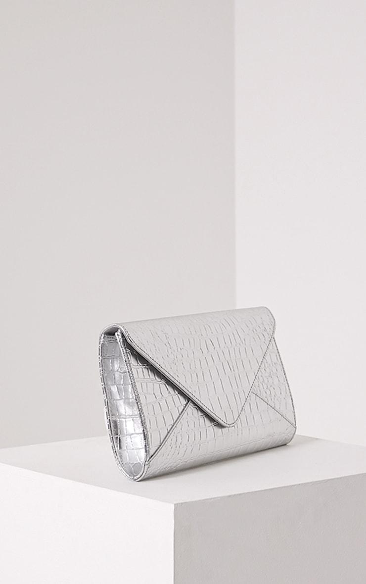 Janie Silver Metallic Croc Clutch Bag 6