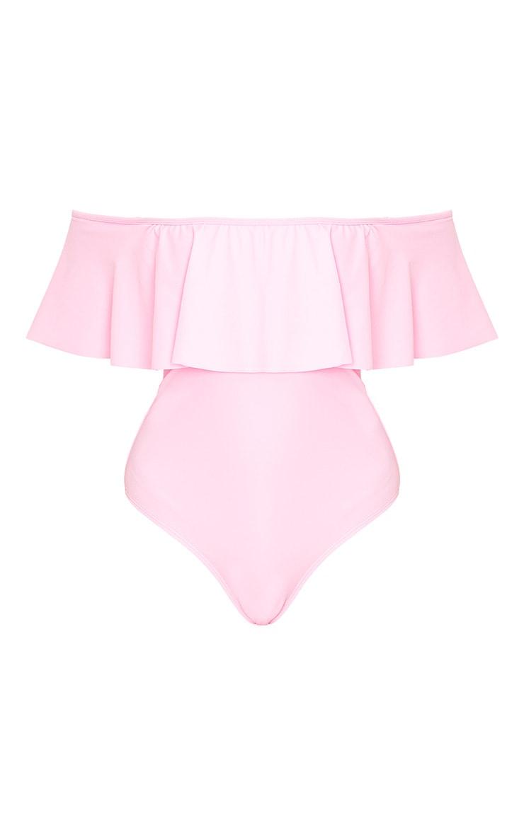 Mia Pink Bardot Frill Swimsuit 3