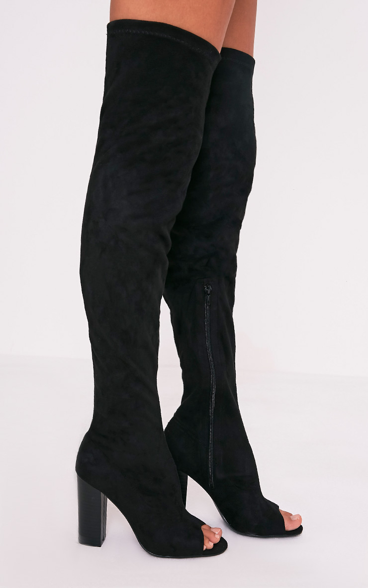 Beccy bottes cuissardes noires à bout ouvert en imitation daim 1