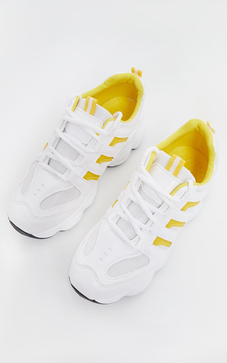 Yellow Cut Out Panel Lace Up Trainer 4