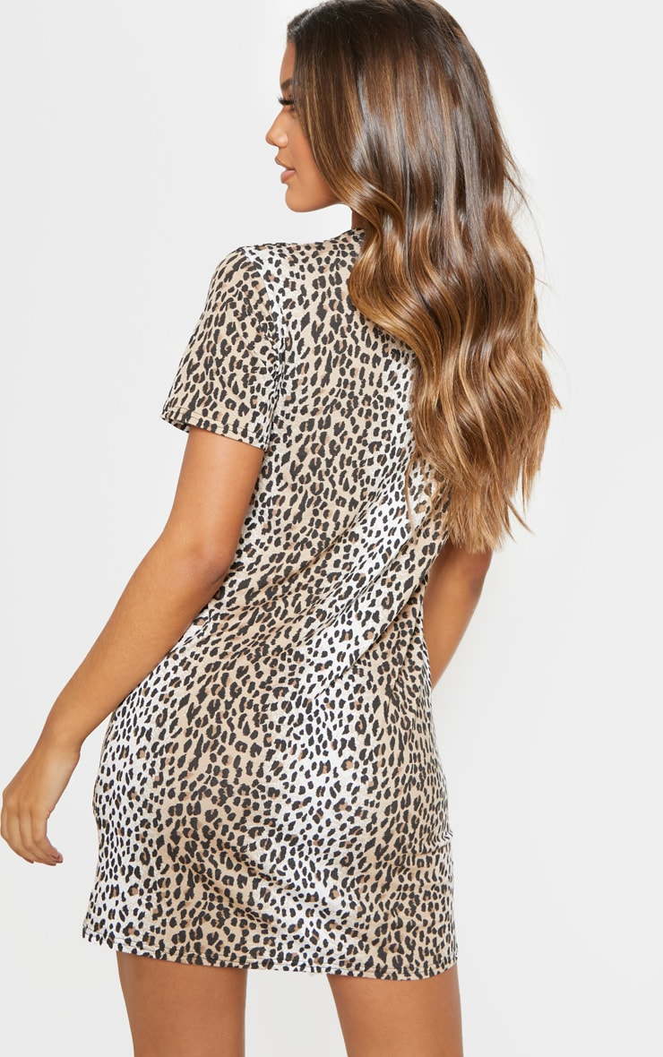 Basic Leopard Print Short Sleeve T Shirt Dress 2