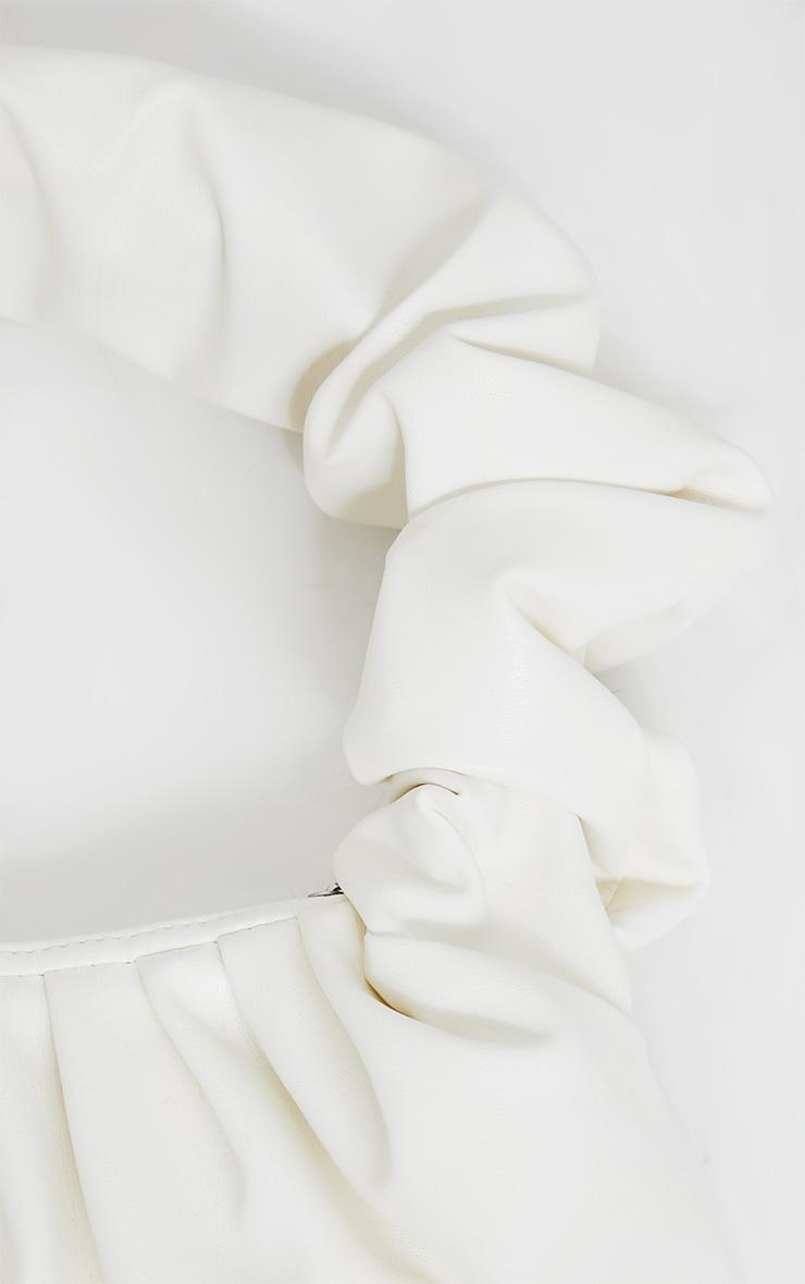 Cream Ruched Handle Oversized Shoulder Bag 3