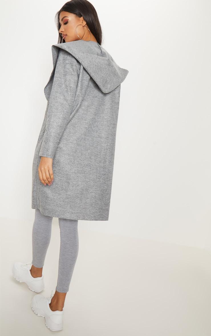 Grey Hooded Pocket Oversized Blazer  4