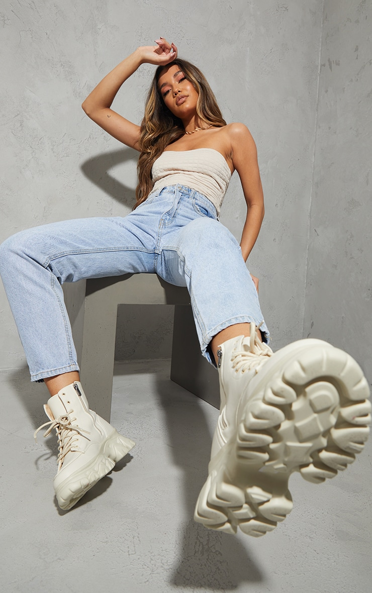 Sand PU Lace Up  Ankle Chunky Sole Hiker Trainers 2