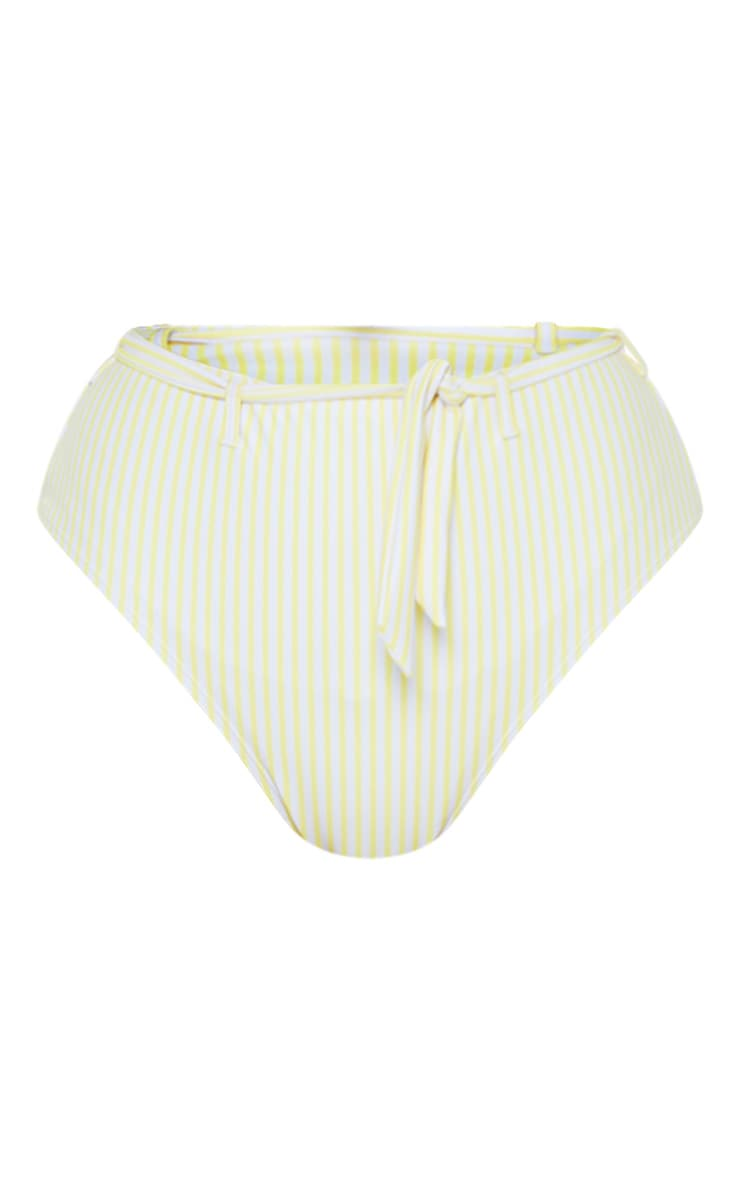 Yellow Stripe Belted Waist Bikini Bottom 3