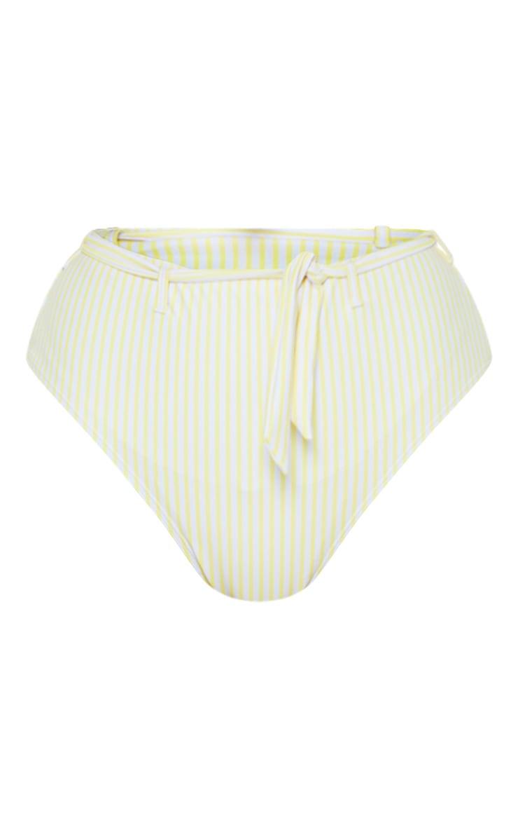 Yellow Stripe Belted Waist Bikini Bottom 4
