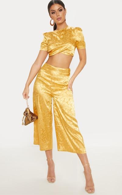 bdb849b101a35 Mustard Satin Jacquard Short Sleeve Crop Top