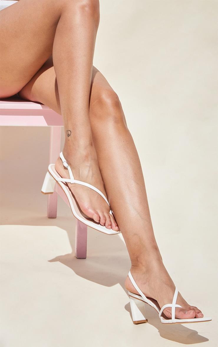 White PU Cross Over Toe Loop Low Heeled Sandals 2