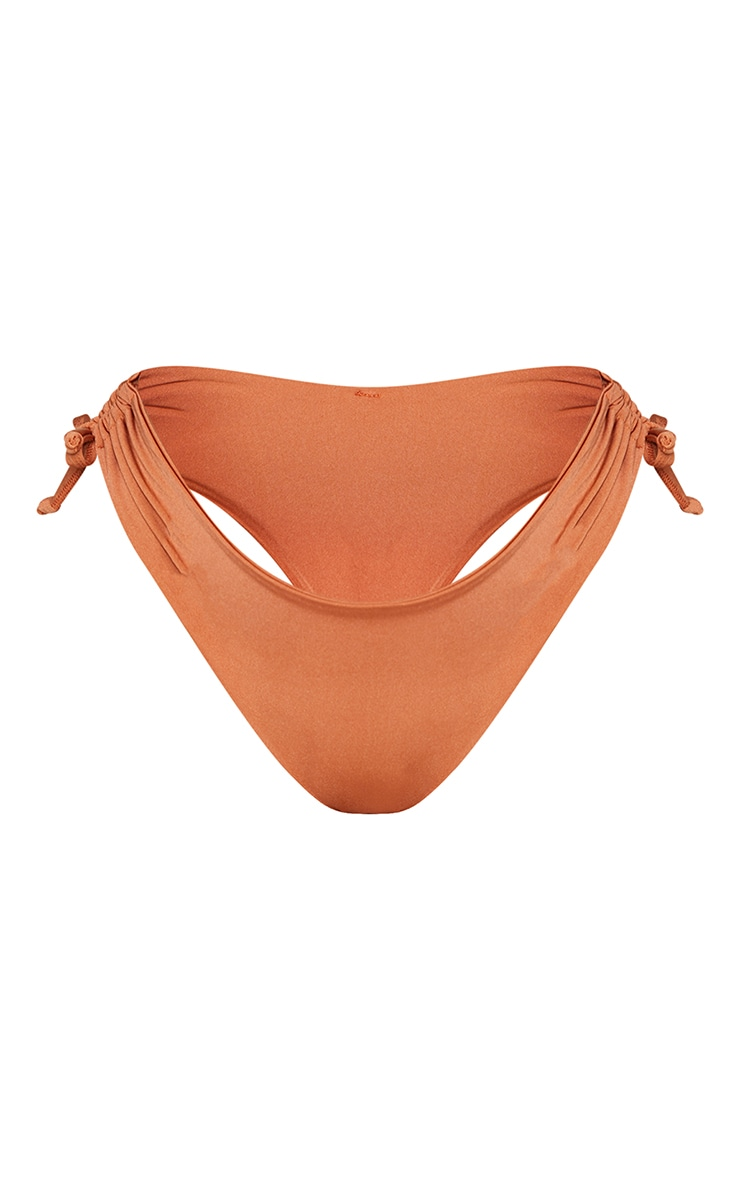 Latte Plain Ruched Tie Side Bikini Bottom 5