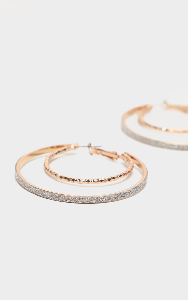 Gold Glitter Textured Hoop With Earrings 3