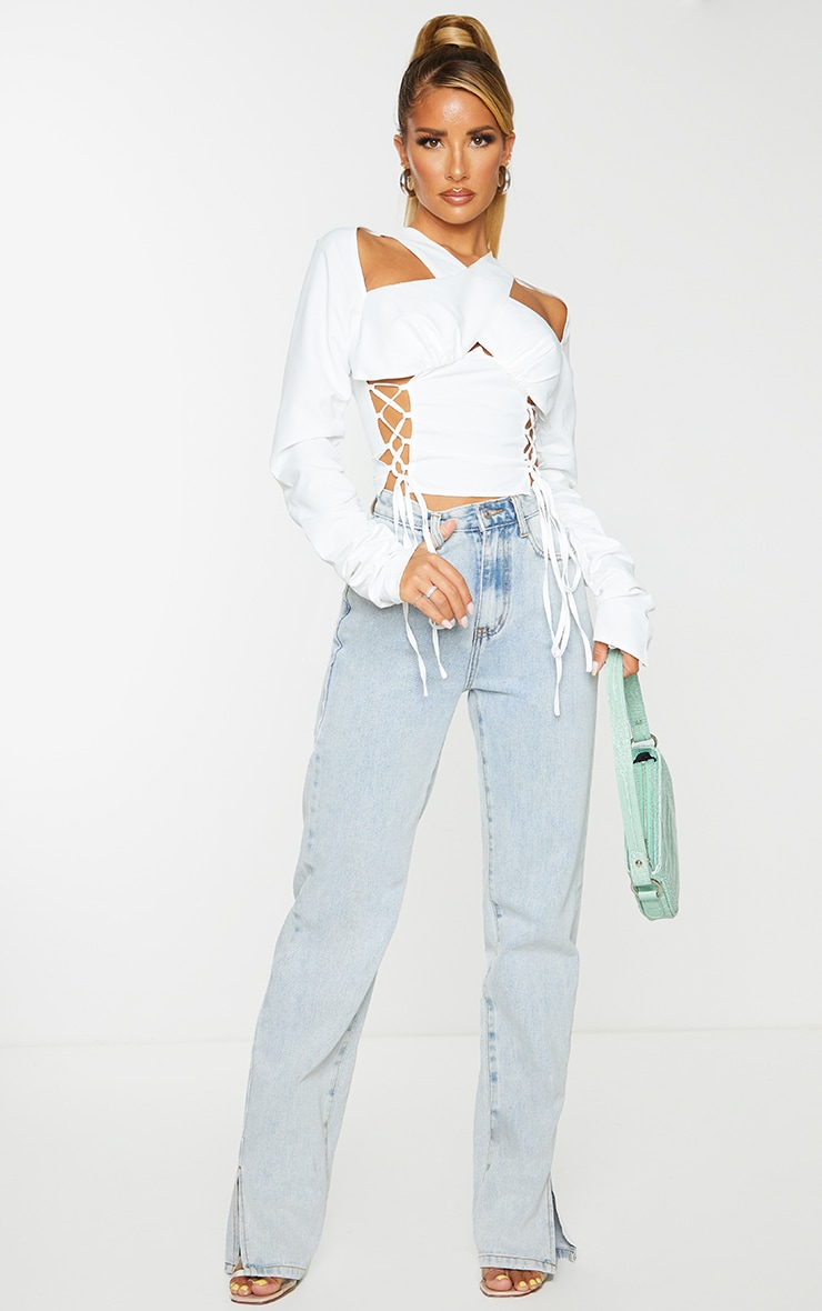 White Woven Long Sleeve Lace Up Side Top 3