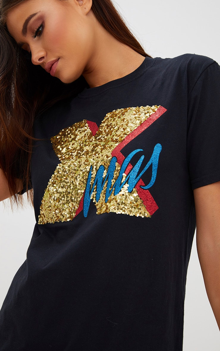 Black XMAS Sequin Glitter Slogan T Shirt 5