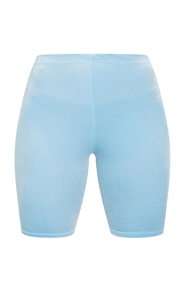 Baby Blue Velvet Bike Shorts 5
