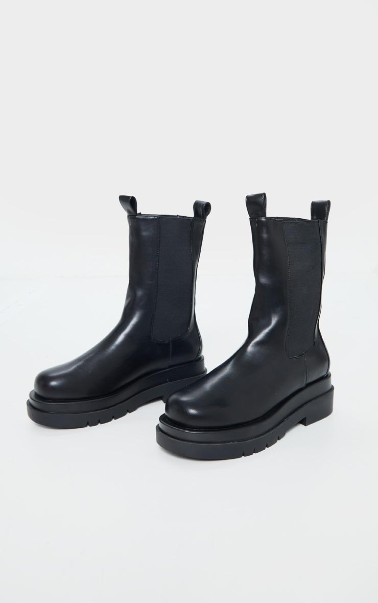Black Calf High Chunky Chelsea Boot 3