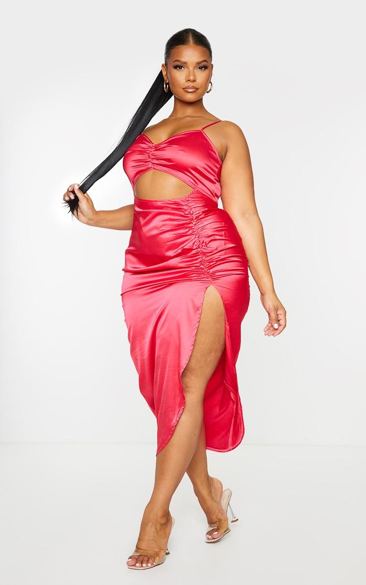 Plus Fuchsia Satin Cut Out Ruched Midaxi Dress 3