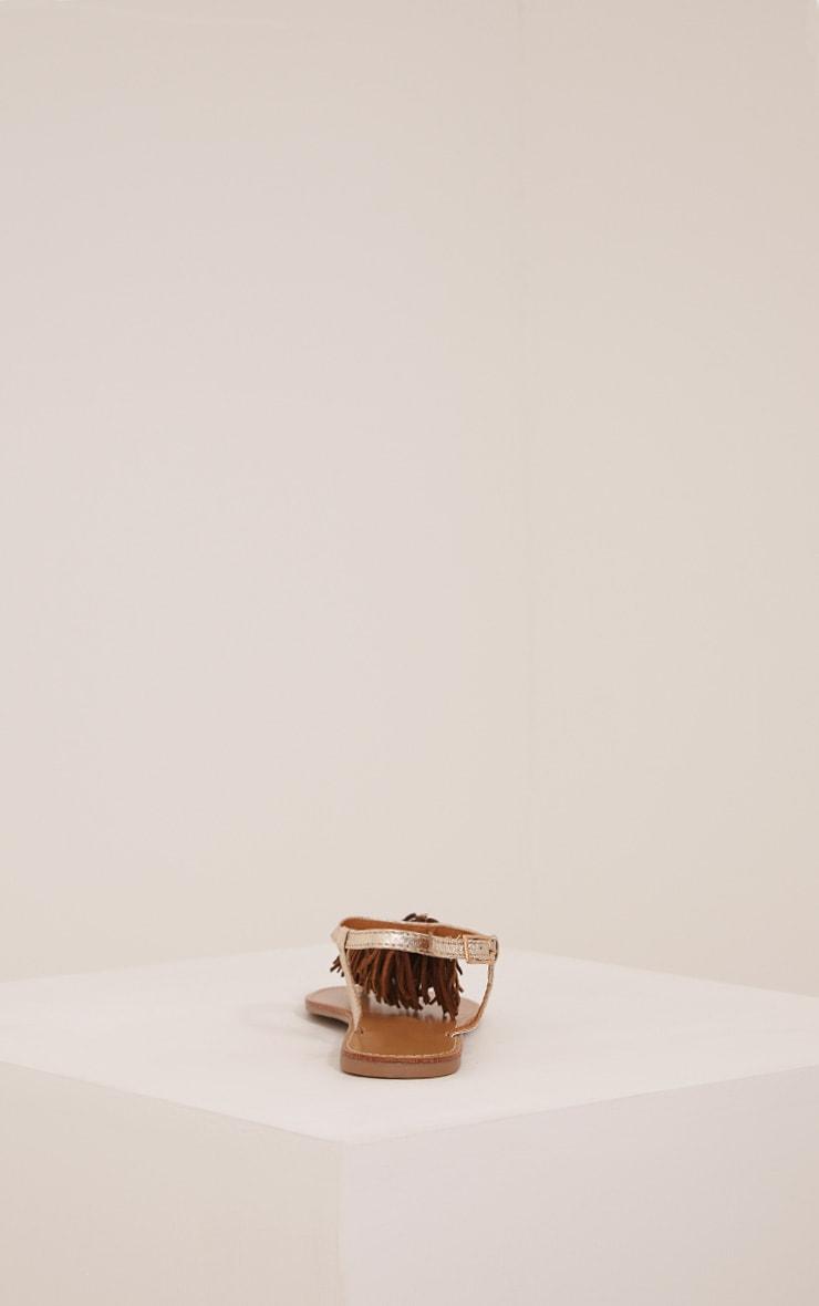 Meghanne Gold Fringe Sandals 3